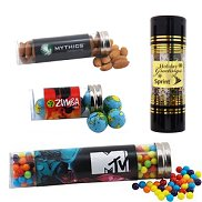 Candy and Nuts in tubes with Custom  Logo