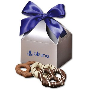 chocolate covered pretzels, personalized chocolate dipped pretzels, branded chocolate gift