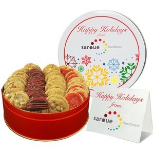 Custom Imprinted Logo Cookie Tin, Corporate Cookie Gifts and Holiday Cookie Assortment