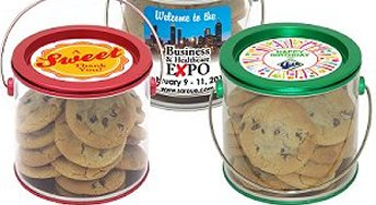 Gourmet Cookie Gifts in Festive  Pails with your Full Color Logo Design