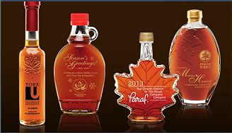 gourmet food - Pure Canadian maple syrup in custom engraved bottles