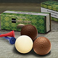 Novelty Chocolate gift ideas, including chocolate golfballs, fruit, coins, medallions and more