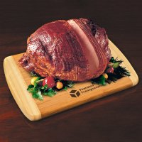 Smoked Ham with Branded Logo on Wooden Board