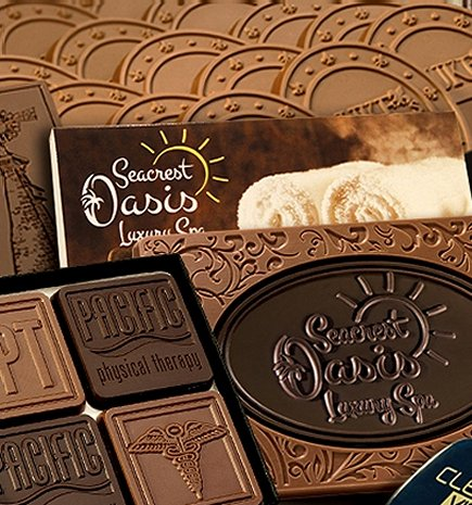 Custom chocolate business gifts - Milk or Dark Chocolate with your logo in custom packaging